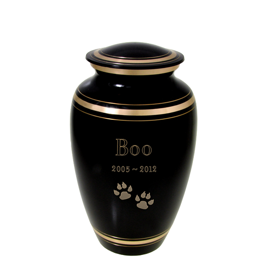 Plain Black Gold Series Cat Pet 60 cu in Cremation Urn-Cremation Urns-New Memorials-Afterlife Essentials
