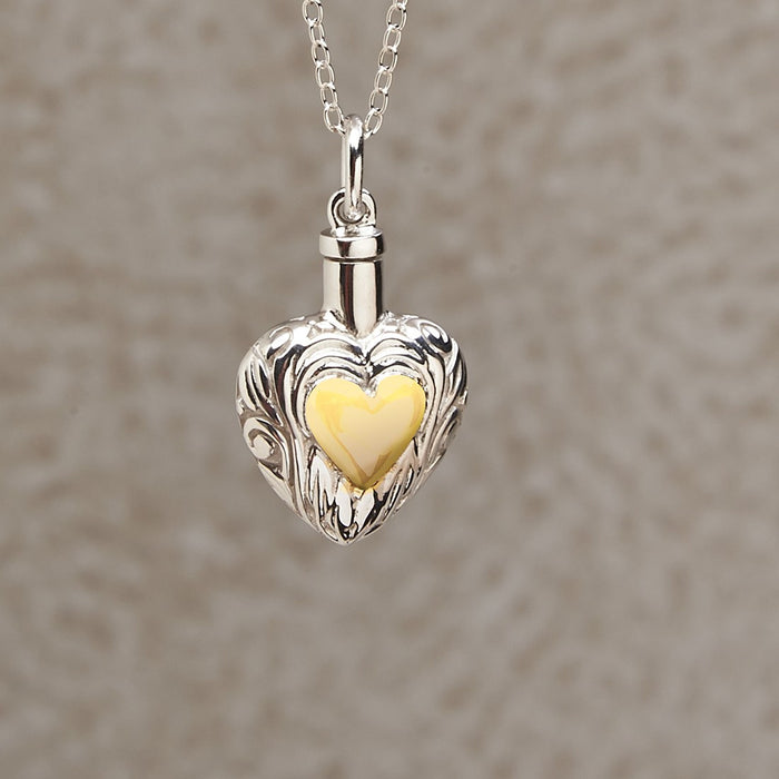 Silver And Gold Heart Pendant with 14K Gold Plated Heart Center Cremation Jewelry-Jewelry-Infinity Urns-Afterlife Essentials