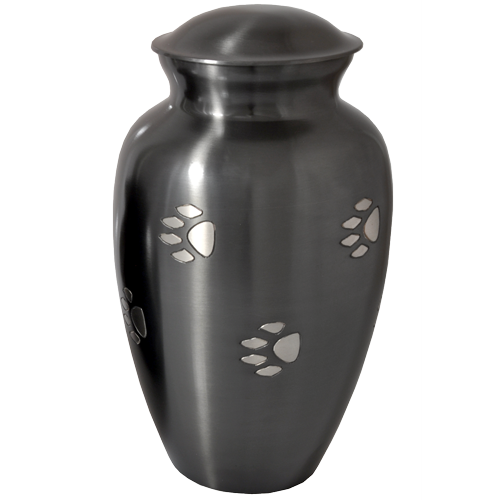 Classic Grey Pawprints 200 cu in Pet Cremation Urn-Cremation Urns-New Memorials-Afterlife Essentials