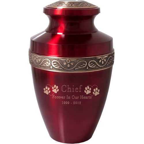 Scarlet Brass Pet Large 200 cu in Cremation Urn-Cremation Urns-New Memorials-Afterlife Essentials