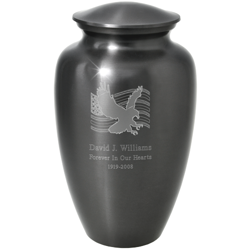 Patriotic Flag And Eagle Adult 200 cu in Cremation Urn-Cremation Urns-New Memorials-Afterlife Essentials