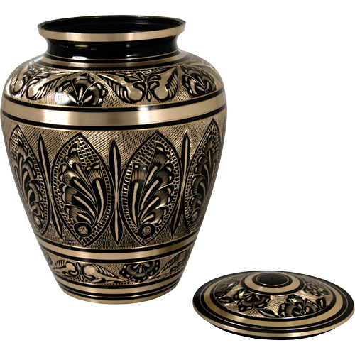 Ornate Etched Black And Brass Adult 200 cu in Cremation Urn-Cremation Urns-New Memorials-Afterlife Essentials
