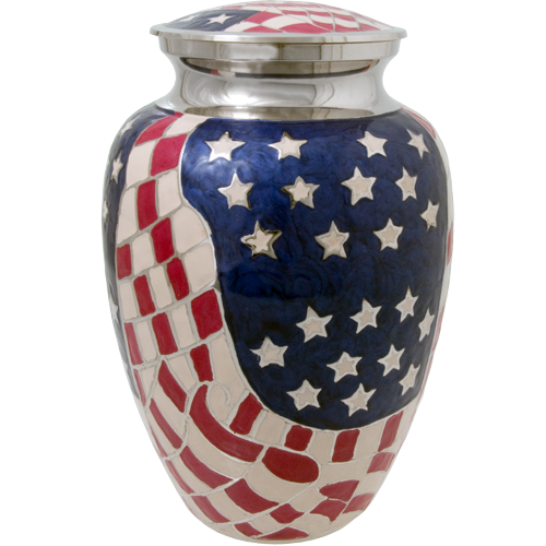 American Flag Brass 200 cu in Cremation Urn-Cremation Urns-New Memorials-Afterlife Essentials