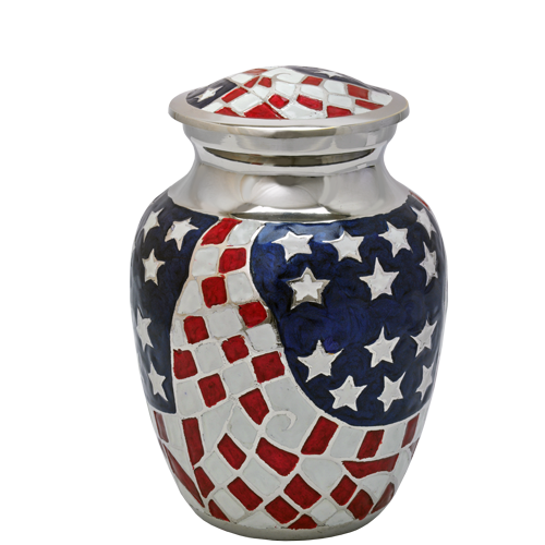 American Flag Brass Medium 68 cu in Cremation Urn-Cremation Urns-New Memorials-Afterlife Essentials