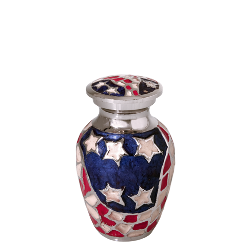 American Flag Brass Mini 3 cu in Cremation Urn Keepsake-Cremation Urns-New Memorials-Afterlife Essentials