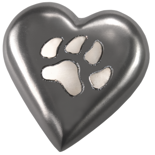Black Pawprint Heart Pet Urn Keepake - Afterlife Essentials