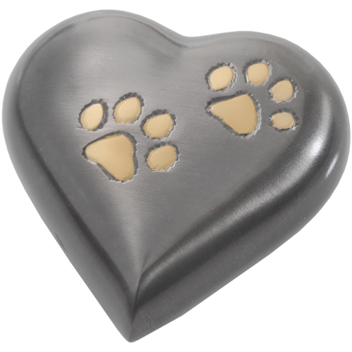 Bronze Pawprint Heart Pet Urn Keepake - Afterlife Essentials
