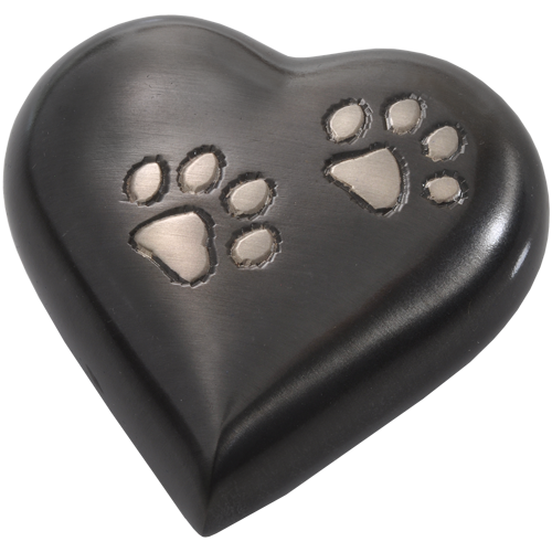Gun Metal Pawprint Heart Pet Urn Keepake - Afterlife Essentials