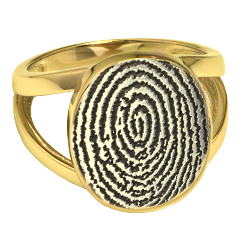Elegant Oval V Ring Fingerprint Memorial Jewelry-Jewelry-New Memorials-14K Yellow Gold (allow 4-5weeks)-Compartment-5-Afterlife Essentials