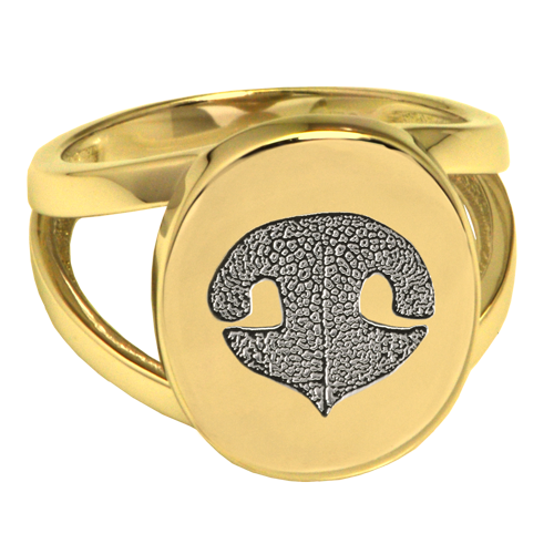 Elegant Oval V Ring Noseprint Pet Memorial Jewelry-Jewelry-New Memorials-14K Solid Yellow Gold (allow 4-5 weeks)-No Compartment-5-Afterlife Essentials