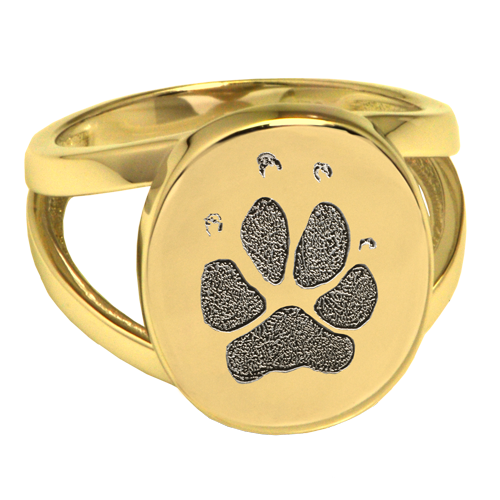 Elegant Oval V Ring Pawprint Pet Memorial Jewelry-Jewelry-New Memorials-14K Solid Yellow Gold (allow 4-5 weeks)-No Compartment-5-Afterlife Essentials