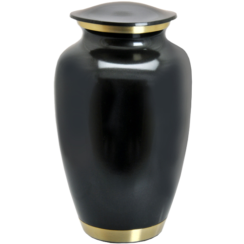 Dark Pewter with Two Gold Bands 200 cu in Cremation Urn-Cremation Urns-New Memorials-Afterlife Essentials