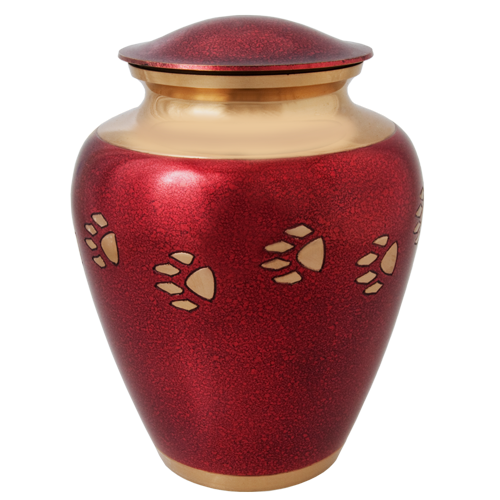 Red With Brass Pawprint Pet Large 200 cu in Cremation Urn-Cremation Urns-New Memorials-Afterlife Essentials