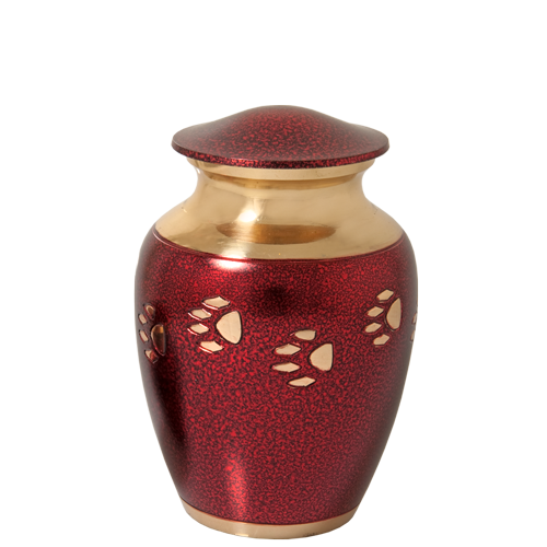 Red With Brass Cat Pawprints Pet Small 40 cu in Cremation Urn-Cremation Urns-New Memorials-Afterlife Essentials