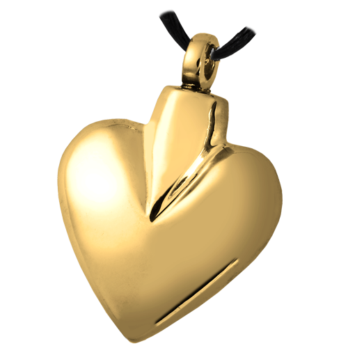 Brass Modern Heart Pendant Cremation Jewelry-Jewelry-New Memorials-Free Black Satin Cord-Afterlife Essentials