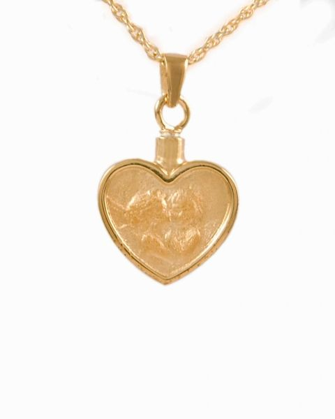 Gold Heart with Angel Cremation Jewelry-Jewelry-Cremation Keepsakes-Afterlife Essentials