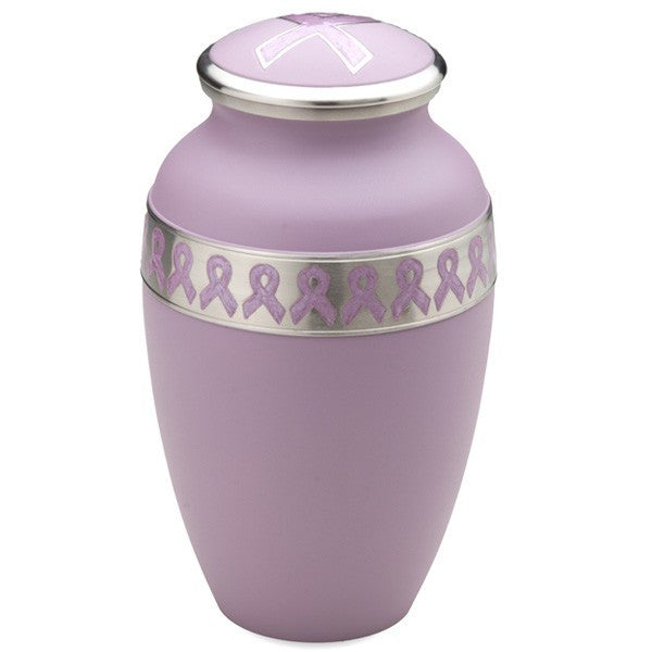 Breast Cancer Awareness Brass 180 Cubic Inches Cremation Urn-Cremation Urns-Infinity Urns-Afterlife Essentials