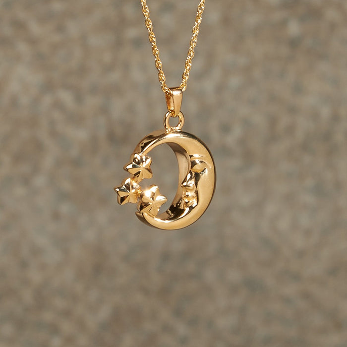 Moon & Stars Pendant Cremation Jewelry-Jewelry-Infinity Urns-Gold Plated-Afterlife Essentials