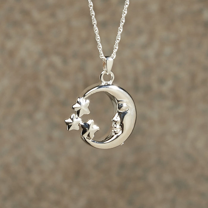 Moon & Stars Pendant Cremation Jewelry-Jewelry-Infinity Urns-Sterling Silver-Afterlife Essentials