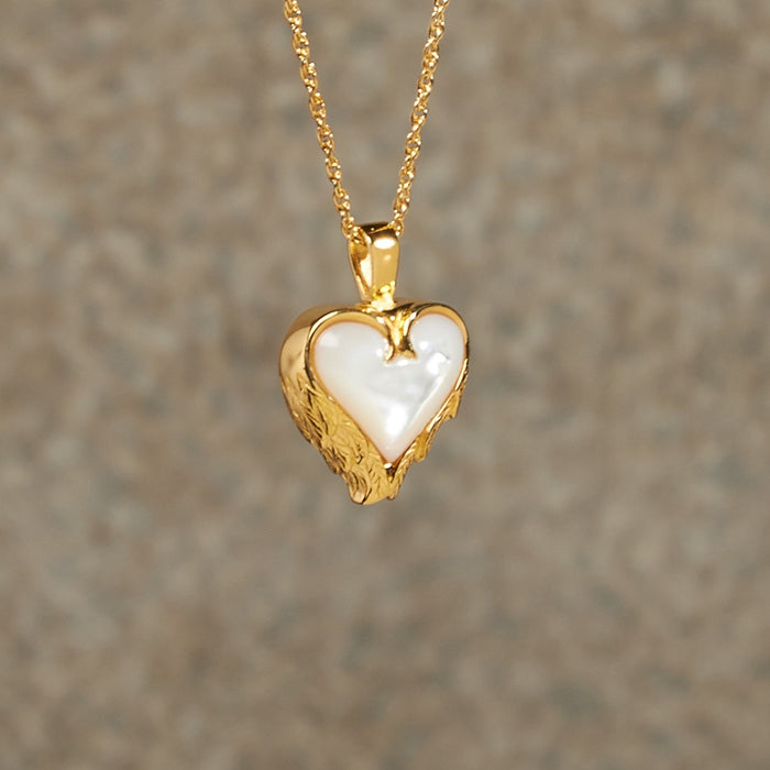 Mother Of Pearl Heart Pendant Cremation Jewelry-Jewelry-Infinity Urns-Afterlife Essentials