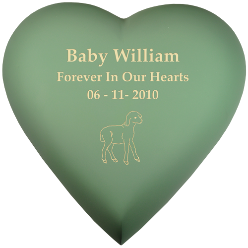 Brass Heart Sage Baby 53 cu in Cremation Urn-Cremation Urns-New Memorials-Afterlife Essentials