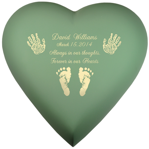 Brass Heart Sage Hands Or Feet Prints Baby 53 cu in Cremation Urn-Cremation Urns-New Memorials-Afterlife Essentials
