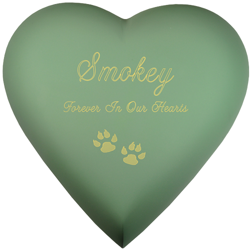 Brass Heart Sage Cat Pet 53 cu in Cremation Urn-Cremation Urns-New Memorials-Afterlife Essentials