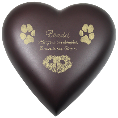 Brass Heart Espresso with Pawprint + Nose Print 53 cu in Cremation Urn-Cremation Urns-New Memorials-Afterlife Essentials