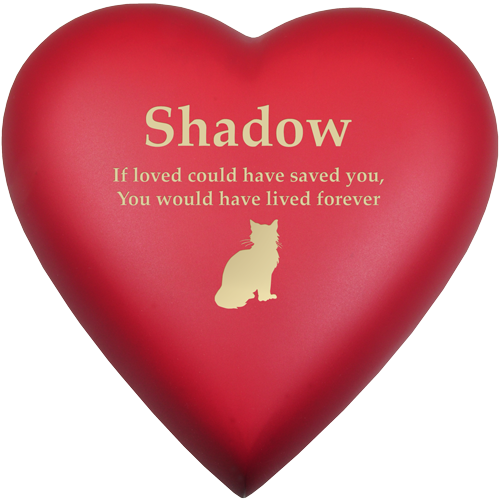 Brass Heart Scarlet Cat Pet 53 cu in Cremation Urn-Cremation Urns-New Memorials-Afterlife Essentials