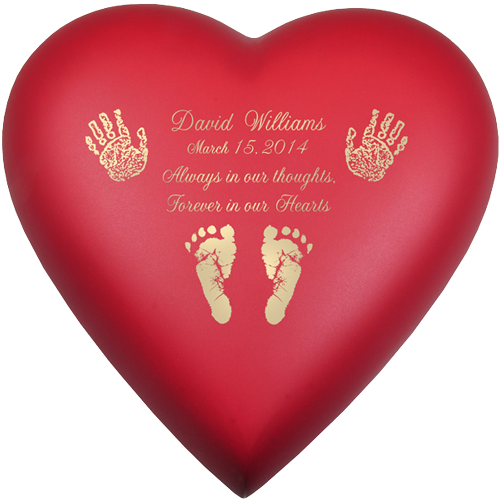 Brass Heart Scarlet Hands Or Feet Prints Baby 53 cu in Cremation Urn-Cremation Urns-New Memorials-Afterlife Essentials