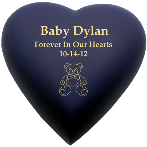 Brass Heart Blue Nightfall Baby 53 cu in Cremation Urn-Cremation Urns-New Memorials-Afterlife Essentials