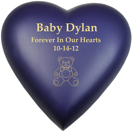 Brass Heart Blue-Violet Baby Medium 53 cu in Cremation Urn-Cremation Urns-New Memorials-Afterlife Essentials