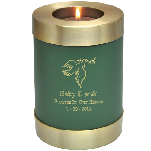 Sage Green Candle Holder Memorial Baby Urn - Afterlife Essentials