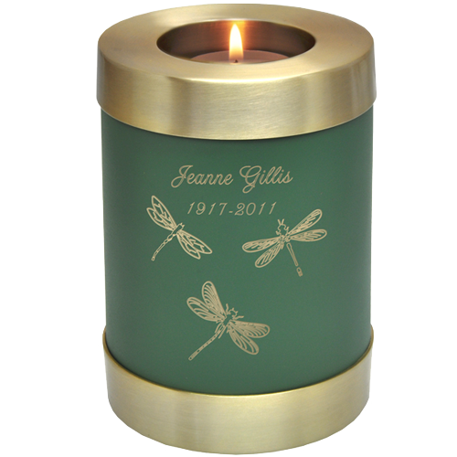 Candle Holder Series Round Sage Green in Cremation Urn-Cremation Urns-New Memorials-Small 20 cubic inches-Afterlife Essentials