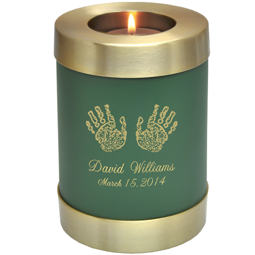 Sage Green Candle Holder Memorial - Actual Hands Or Feet Prints Option Baby Urn - Afterlife Essentials