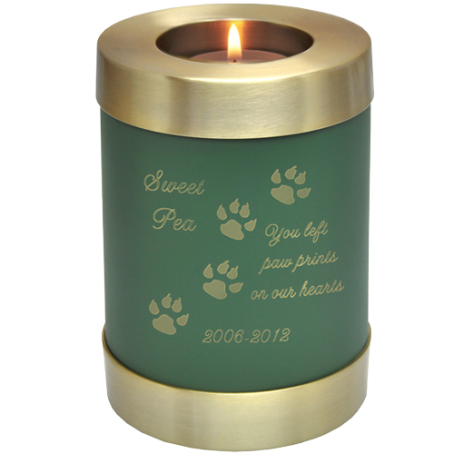 Candle Holder Series Round Sage Green Cat 20 cu in Cremation Urn-Cremation Urns-New Memorials-Afterlife Essentials