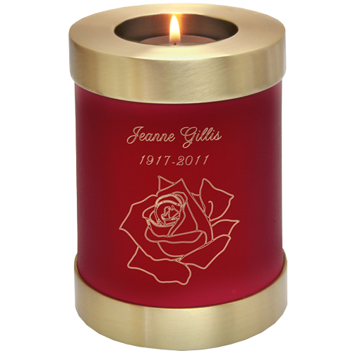 Candle Holder Series Round Scarlet Brass 20 cu in Cremation Urn-Cremation Urns-New Memorials-Afterlife Essentials