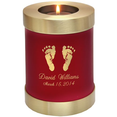 Candle Holder Series Round Scarlet Brass Hands Or Feet Prints Baby 20 cu in Cremation Urn-Cremation Urns-New Memorials-Afterlife Essentials