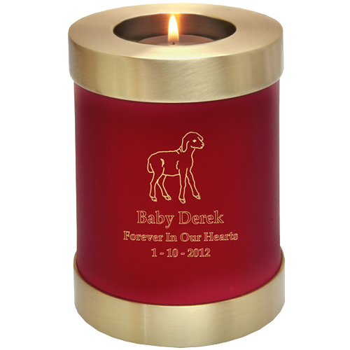 Candle Holder Series Round Scarlet Brass Baby 20 cu in Cremation Urn-Cremation Urns-New Memorials-Afterlife Essentials