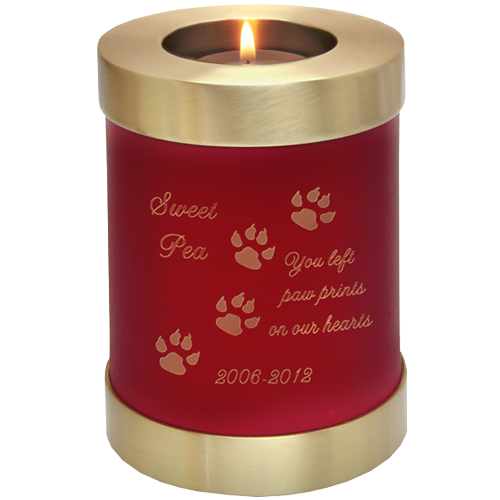 Candle Holder Series Round Scarlet Brass Cat 20 cu in Cremation Urn-Cremation Urns-New Memorials-Afterlife Essentials