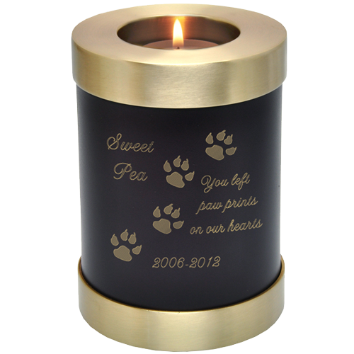 Candle Holder Series Round Espresso Cat 20 cu in Cremation Urn-Cremation Urns-New Memorials-Afterlife Essentials