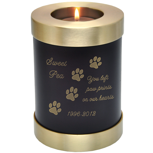 Candle Holder Series Round Espresso Dog in Cremation Urn-Cremation Urns-New Memorials-Small 20 cubic inches-Afterlife Essentials