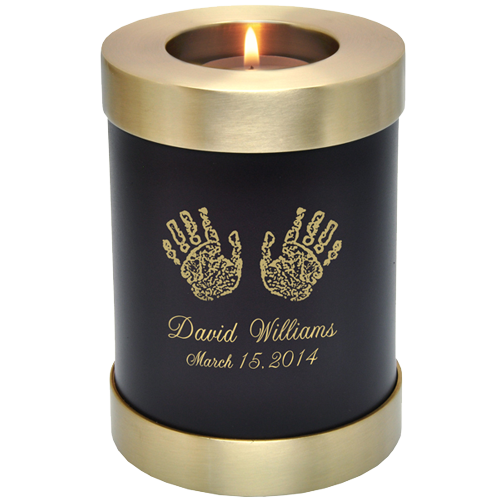 Candle Holder Series Round Espresso Hands Or Feet Baby Prints 20 cu in Cremation Urn-Cremation Urns-New Memorials-Afterlife Essentials