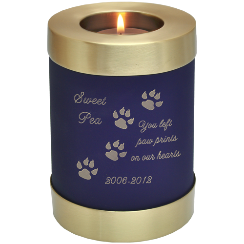 Candle Holder Series Round Blue Nightfall Cat 20 cu in Cremation Urn-Cremation Urns-New Memorials-Afterlife Essentials