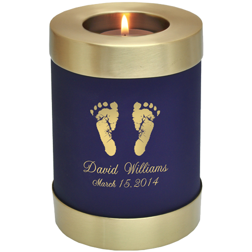 Blue Nightfall Candle Holder Memorial - Actual Hands Or Feet Prints Option Baby Urn - Afterlife Essentials