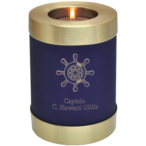 Candle Holder Series Round Blue Nightfall 20 cu in Cremation Urn-Cremation Urns-New Memorials-Afterlife Essentials