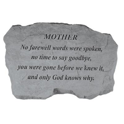 MOTHER – No Farewell Words… Memorial Gift-Memorial Stone-Kay Berry-Afterlife Essentials