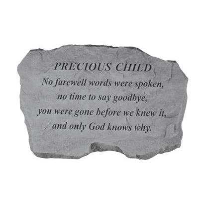 PRECIOUS CHILD – No Farewell Words… Memorial Gift-Memorial Stone-Kay Berry-Afterlife Essentials