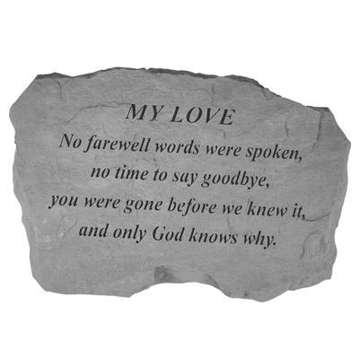 MY LOVE – No Farewell Words… Memorial Gift-Memorial Stone-Kay Berry-Afterlife Essentials