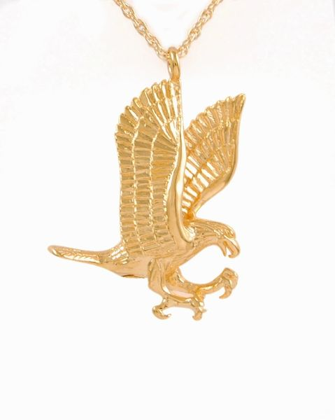 Gold Plated Eagle Cremation Jewelry-Jewelry-Cremation Keepsakes-Afterlife Essentials